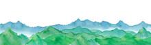 連なる山の景色。水彩イラストのトレースベクター。