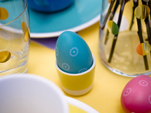 Beautiful Colorful Festive Easter Table Setting With Easter Bunny, Easter Eggs, Happy Easter In Pastel Spring Color Theme