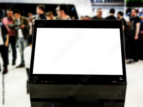 Touch screen mock up of kiosk digital stand, for ads, marketing advertising, design, promotion in the shopping centre, gallery, convention centre, events.