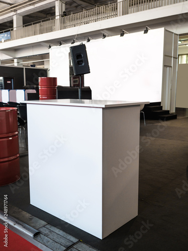 Creative Exhibition Stand Design : Blank mock up creative exhibition stand design with shapes booth