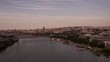 Flying over estuary and bridges with drone 4k