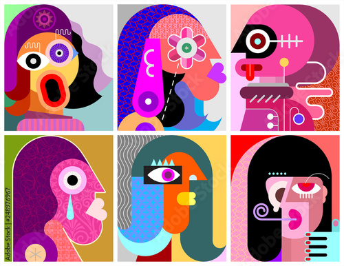 Six Faces / Six Persons vector illustration.
