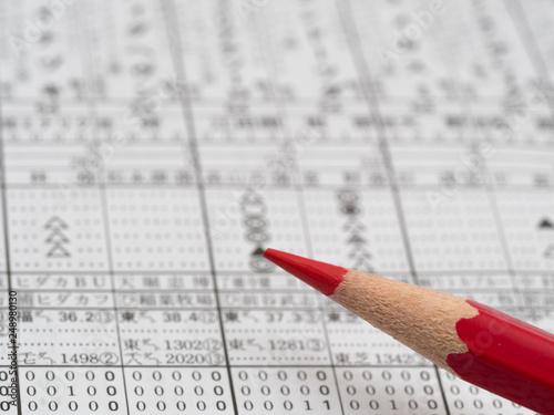Obraz na płótnie 競馬情報と赤鉛筆