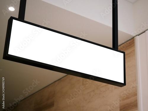 Cuadros en Lienzo  information board, signboard, empty white mock up signage, black frames backgrou