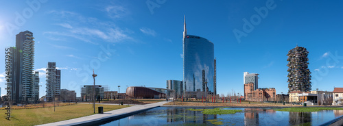 Fotobehang Milan 02/11/2019 Milan, Italy: skyline of Milan, view of the new city park, the tree library