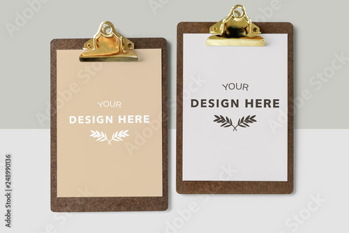 Photo  Clipboard with a document mockup