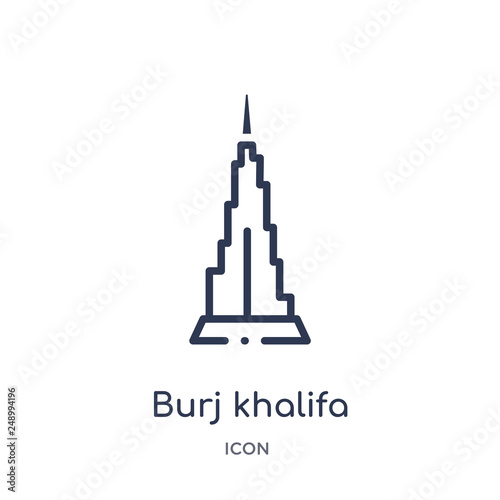 Photo burj khalifa icon from monuments outline collection