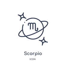 Scorpio Icon From Zodiac Outline Collection. Thin Line Scorpio Icon Isolated On White Background.