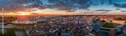 Bayonne - Basque County - France sunset panorama with dramatic sky