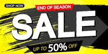 Sale Discount Horizontal Poster Design Template, End Of Season, Up To 50% Off, Vector Illustration