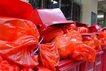Chiang Rai, Thailand - September 6, 2018:Infected Garbage Bag,Red Bag To Infect Garbage In The Hospital Was Tied And Put The Tank To Wait To Destroy It Properly