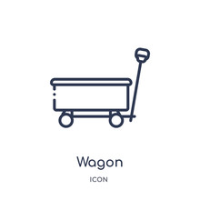Wagon Icon From Transportaytan Outline Collection. Thin Line Wagon Icon Isolated On White Background.