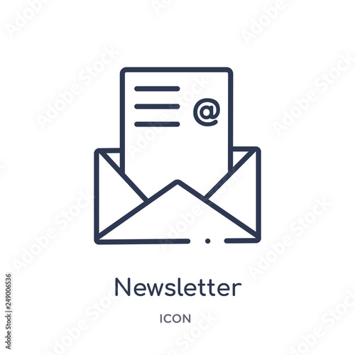 Fototapeta newsletter icon from success outline collection. Thin line newsletter icon isolated on white background. obraz