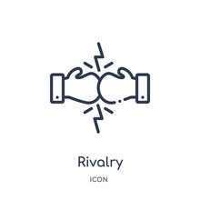 Rivalry Icon From Startup Stategy And Success Outline Collection. Thin Line Rivalry Icon Isolated On White Background.