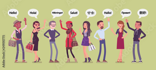 Fotografía  Hello greeting in languages and group of diverse people