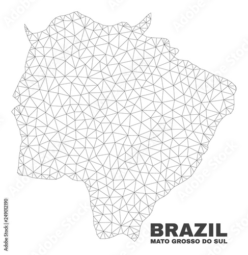 Fotografija  Abstract Mato Grosso do Sul State map isolated on a white background