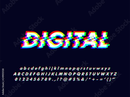 No signal glitches rgb screen alphabet character design with