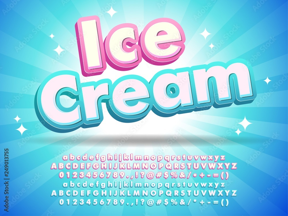 Fototapety, obrazy: Ice cream font text design, for logo title headline, menu poster banner flyer, clean blue background with little stars compatible with illustrator 10