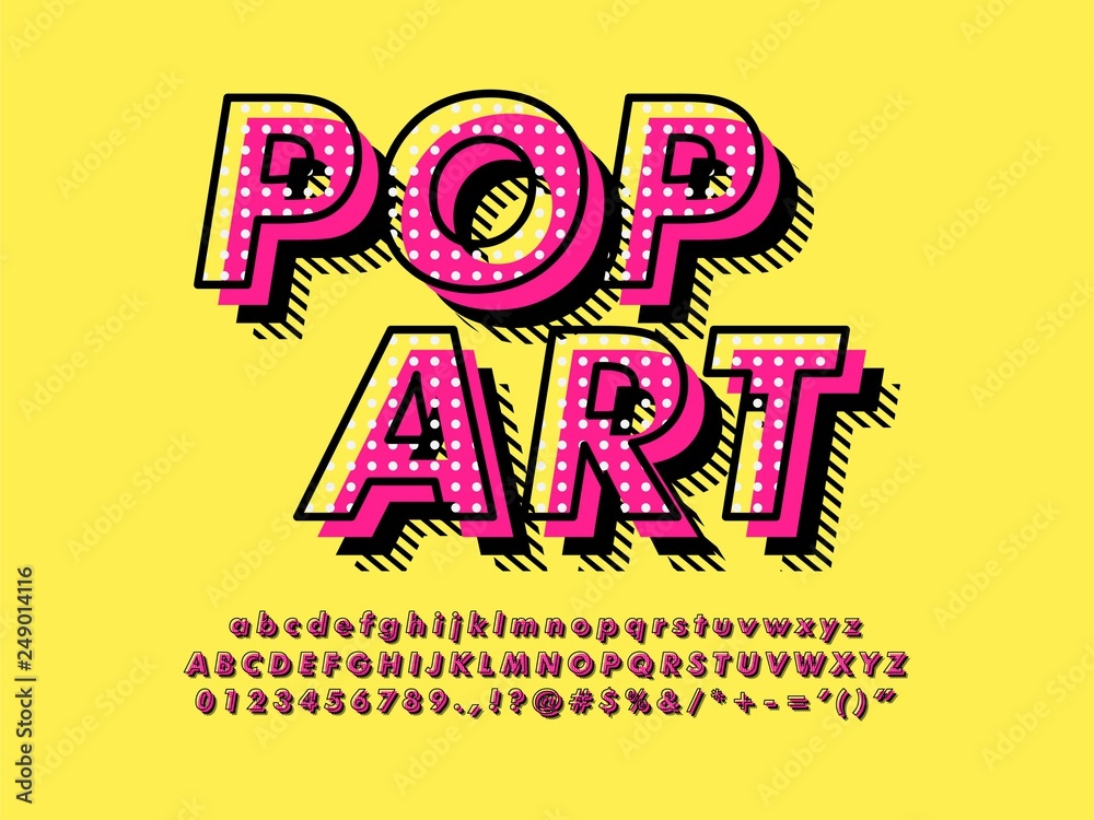 Fototapety, obrazy: Modern retro old Pop Art Font Effect with rich texture pattern and shadow compatible with illustrator 10