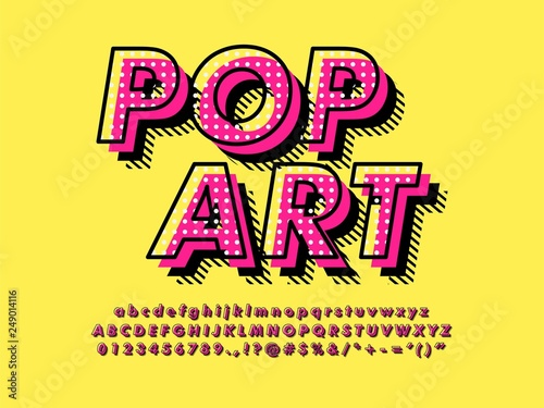 Photo  Modern retro old Pop Art Font Effect with rich texture pattern and shadow compat