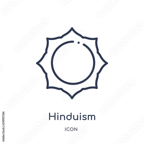 hinduism icon from religion outline collection. Thin line hinduism icon isolated on white background.