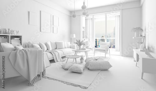 Fotografering  3d render of beautiful interior render setup