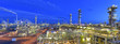 canvas print picture - refinery plant at night  // Panorama Nachtaufnahme Industrieanlage Raffinerie - industrielle Gebäude