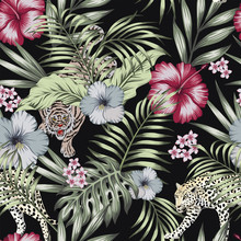 Wild Exotic Jungle Seamless Black Background