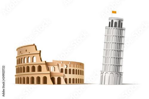 Fényképezés Vector famous italian landmark pisa tower coliseum