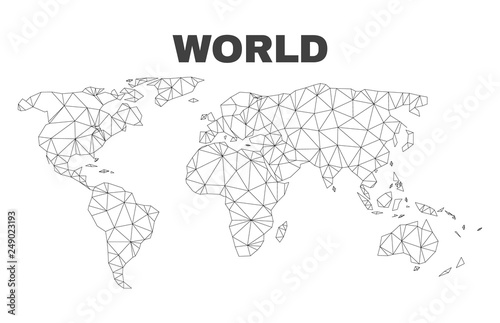 Abstract world map isolated on a white background. Triangular mesh model in black color of world map. Polygonal geographic scheme designed for political illustrations.