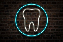 Tooth, Neon Sign On A Brick Wall Background. Dental Clinic Concept, First Aid
