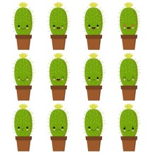 Cactus Characters Sett, Funny Cacti With Different Emotions Vector Illustrations On A White Background