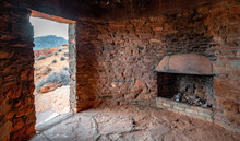 CCC Stone Cabin Interior And Fireplace At Valley Of Fire State Park