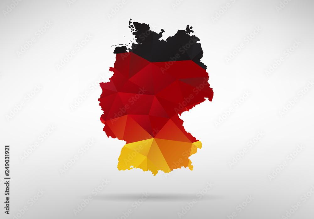 Fototapeta Germany map with national flag