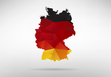 Germany Map With National Flag