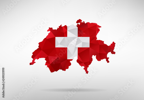 Switzerland map with national flag Billede på lærred