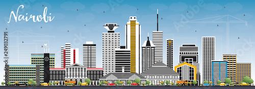 Nairobi Kenya City Skyline with Color Buildings and Blue Sky. Canvas Print