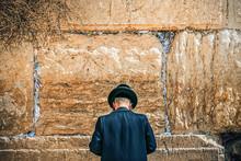 Jew Prays Near The Holy Wall In Jerusalem