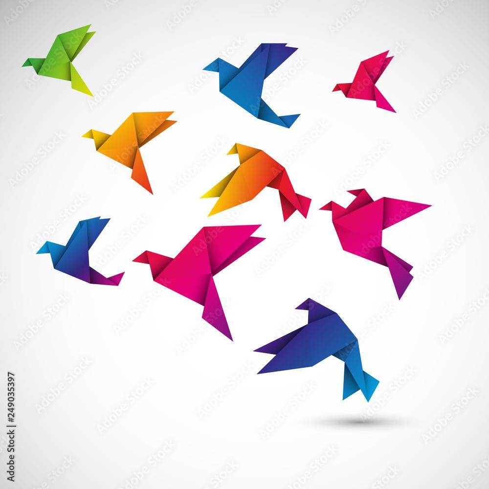 Obraz ptaki origami wektor fototapeta, plakat