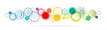 Frises De Cercles Et Engrenages Colorés