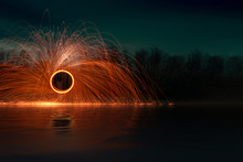 Steel Wool Firework At Night At The Lake