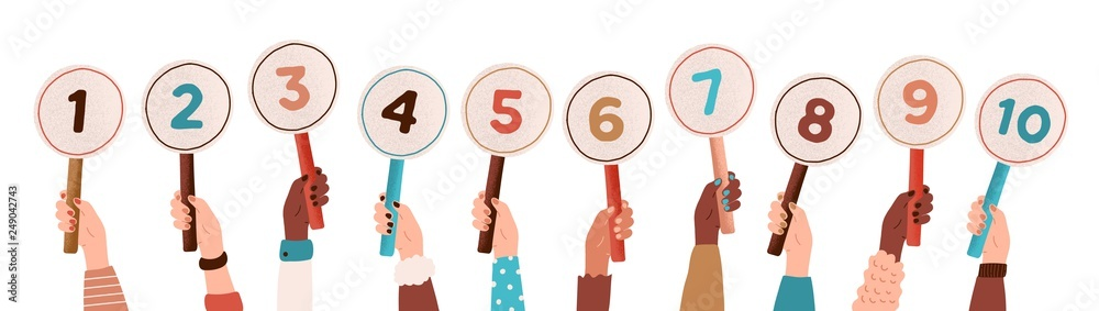 Fototapeta Collection of male and female hands holding round cards or signs with amount of scores got in competition, tournament or contest. Votes of judges. Colored vector illustration in flat cartoon style.