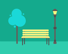Wooden Bench, Abstract Tree And Street Lamp Vector Isolated Icons. Lantern And Green Plant Doodle, Wooden Seat, Cartoon Elements For City Park Design