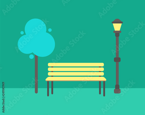 Awesome Wooden Bench Abstract Tree And Street Lamp Vector Isolated Machost Co Dining Chair Design Ideas Machostcouk