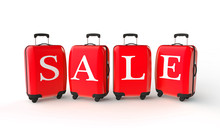 Summer Sale. Luggage With Sale Message. 3D Rendering