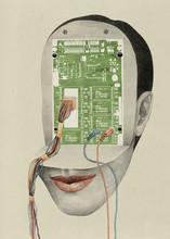 Human Head With Circuit Board