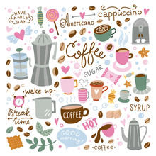 Coffee Vector Set. Doodle Illustrations With Coffee Cups, Sweet Food, Kitchen Equipment On White Background