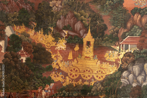 Fototapety, obrazy: Golden procession in Wat Phra Kaew mural