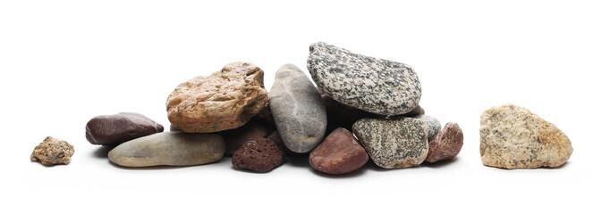 Decorative rocks isolated on white background
