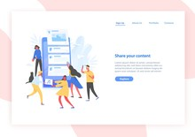 Web Banner Template With People And Giant Smartphone With Posts On Screen. Sharing Content On Social Media, Blogging And Microblogging. Modern Vector Illustration In Flat Style For Advertisement.